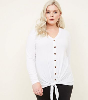 Curves White Button Tie Front Top