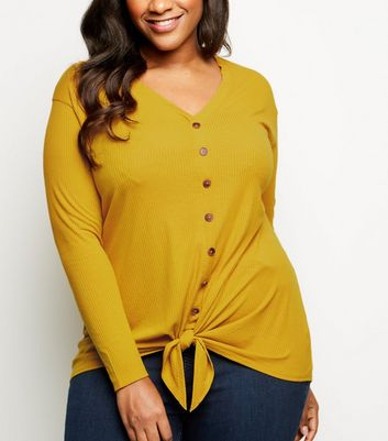 Curves Yellow Button Tie Front Top