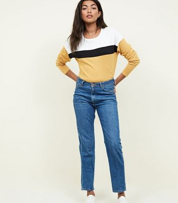 Yellow Colour Block Long Sleeve Top