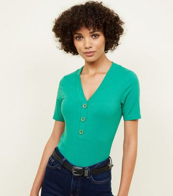 Green Ribbed Button Front T-Shirt