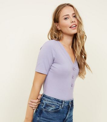 Lilac Ribbed Button Front T-Shirt