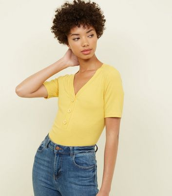 Yellow Ribbed Button Front T-Shirt