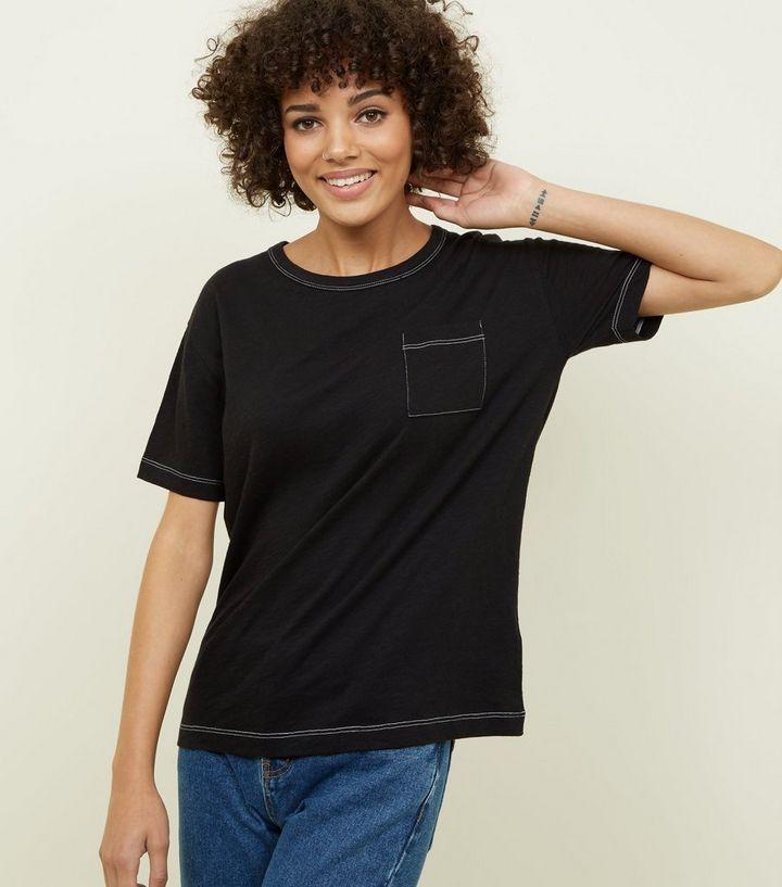 14966bd80881 Black Organic Cotton Contrast Stitch Pocket Front T-Shirt | New Look