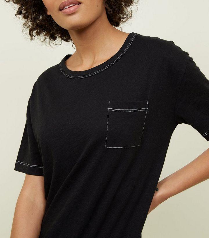 536a6a7029bb ... Black Organic Cotton Contrast Stitch Pocket Front T-Shirt. ×. ×. ×.  Shop the look