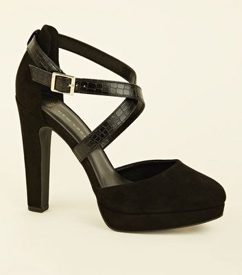 Wide Fit Black Faux Snake Cross Strap Platforms