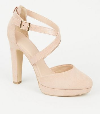 Wide Fit Nude Faux Snake Cross Strap Platforms