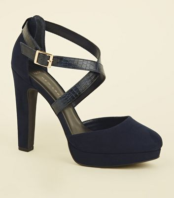Wide Fit Navy Faux Snake Cross Strap Platforms