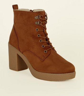 Wide Fit Tan Borg Lined Lace Up Boots