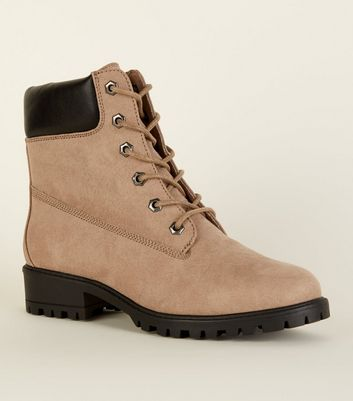 Wide Fit Light Brown Suedette Lace Up Boots