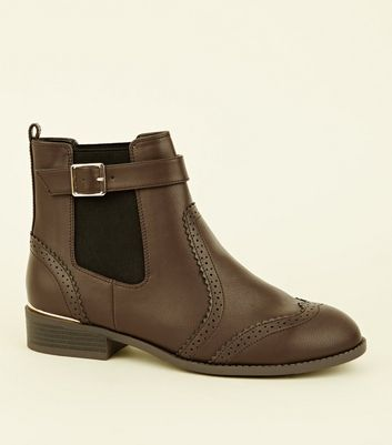Wide Fit Brown Leather-Look Brogue Chelsea Boots