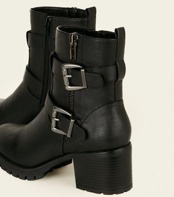 Wide Fit Black Buckle Strap Biker Boots