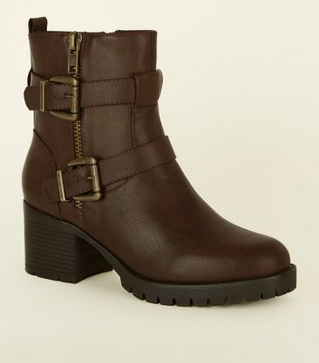 Wide Fit Brown Buckle Strap Biker Boots