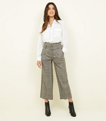 Stone Check Buckle Belt Wide Leg Trousers