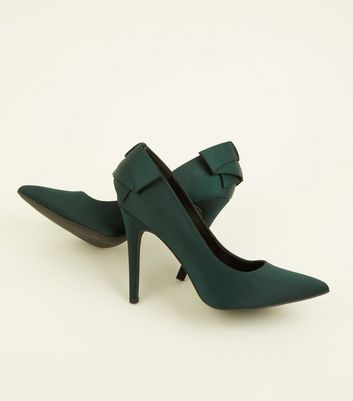 Wide Fit Dark Green Satin Bow Back