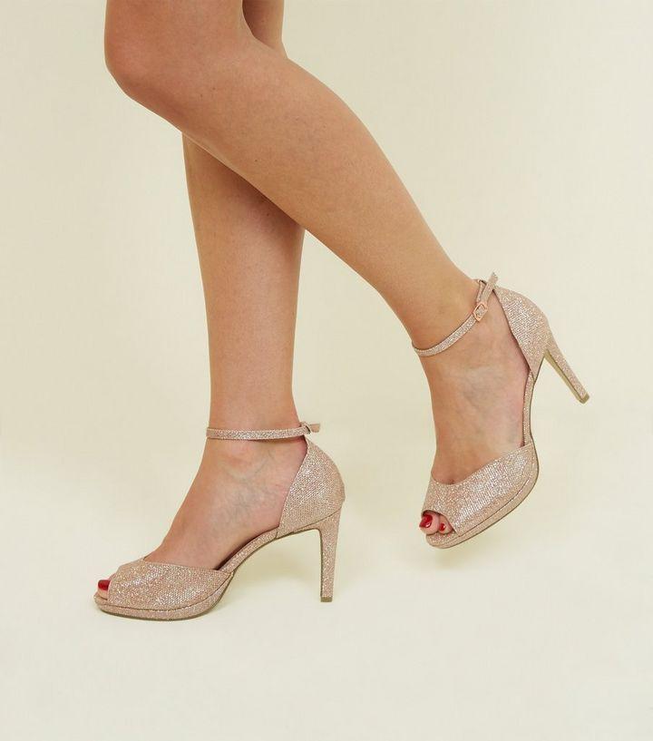 73cb1538da2a ... Shoes · Wide Fit Rose Gold Glitter Peep Toe Stilettos. ×. ×. ×. Shop  the look