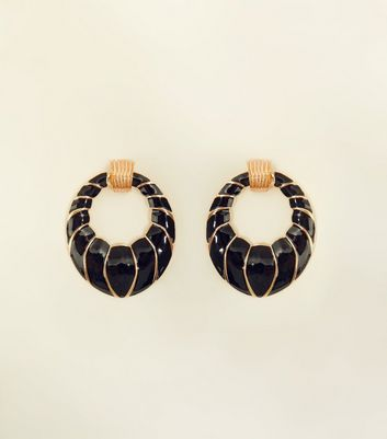 Black Enamel Door Knocker Earrings