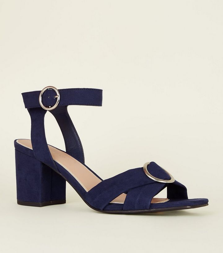 bbe30ecf629 Wide Fit Navy Suedette Two Part Block Heels