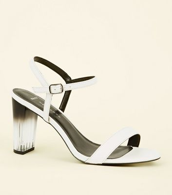 Wide Fit White Clear Ombré Heeled Sandals