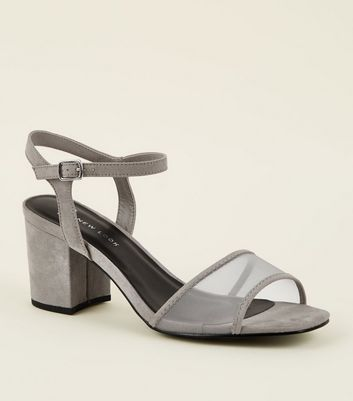 Wide Fit Grey Suedette Mesh Strap Block Heels