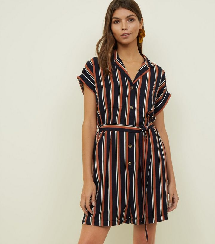 a0de9e8ce4f Navy Stripe Revere Collar Playsuit