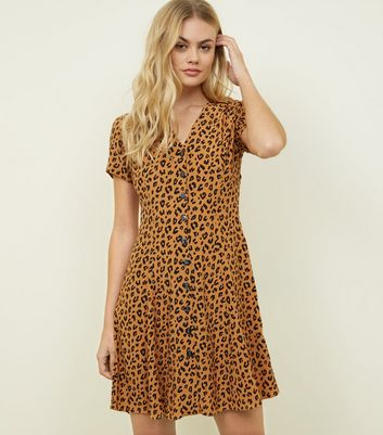 Brown Leopard Print Button Front Tea Dress