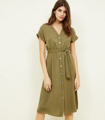 Khaki Button Through Tie Waist Midi Dress