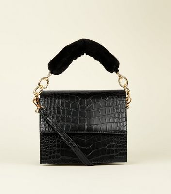 Black Faux Croc Faux Fur Handle Bag