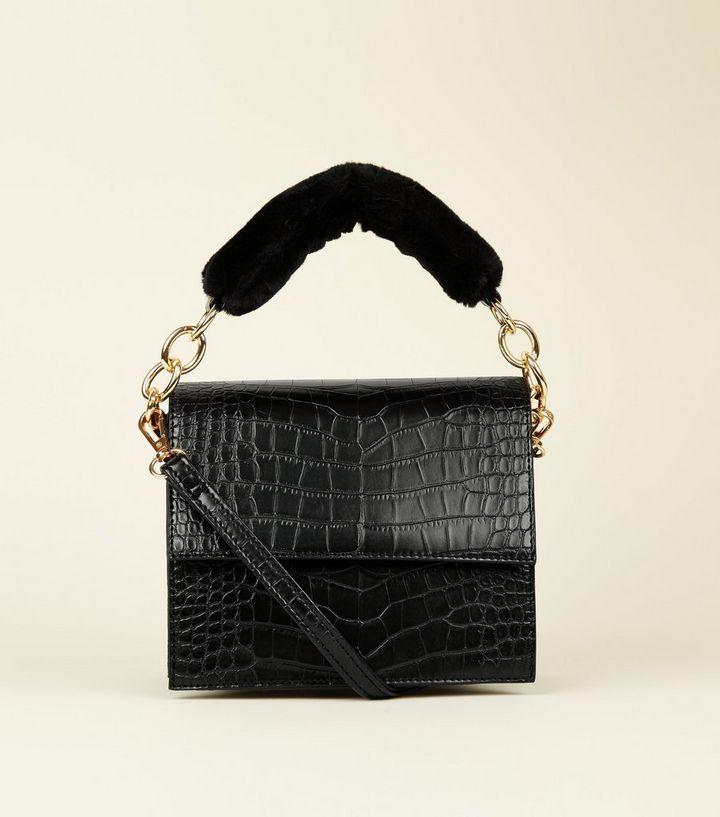 69aad33cc8 Black Faux Croc Faux Fur Handle Bag