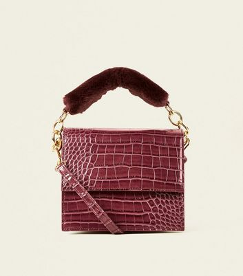 Burgundy Faux Croc Faux Fur Handle Bag