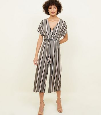 Green Stripe Ribbed Wrap Front Jumpsuit