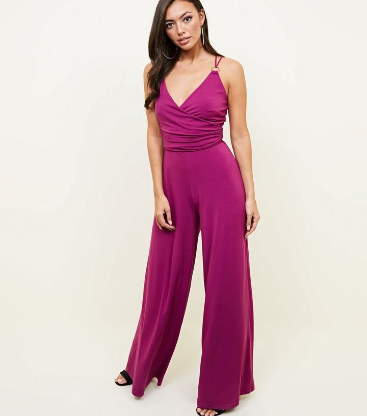 edfe3d7939 Purple Ring Strap Wide Leg Jumpsuit