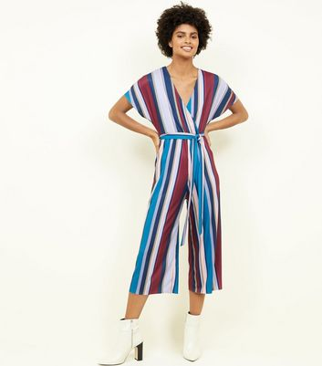 Purple Stripe Ribbed Wrap Front Jumpsuit