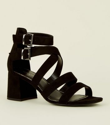Black Faux Snake Lined Strappy Mid Heel Sandals