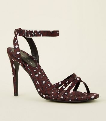 Dark Red Satin Leopard Print Strappy Stilettos