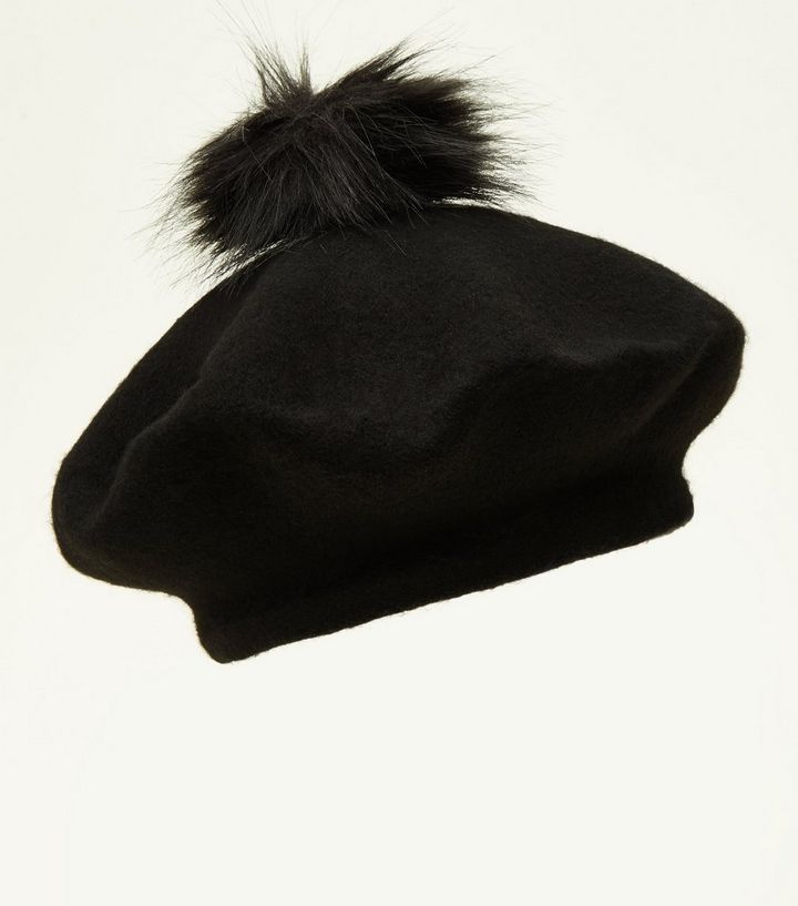 61cc83a54c7d9 Black Faux Fur Pom Pom Felted Beret