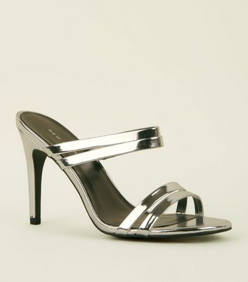 Silver Metallic Strappy Stiletto Heel Mules