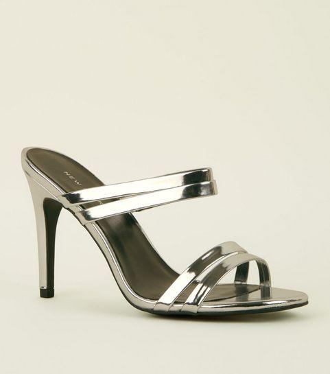 7b83102ae244 ... Silver Metallic Strappy Stiletto Heel Mules ...