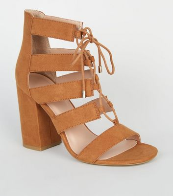 Tan Suedette Lace Up Block Heels