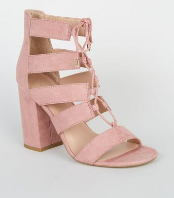 Pink Suedette Lace Up Ghillie Block Heels