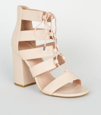 Leather-Look Lace Up Ghillie Block Heels