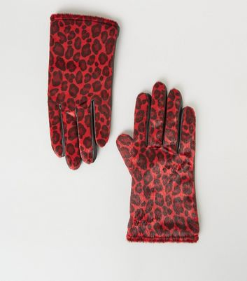Red Faux Leather Fur Leather Gloves