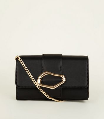 Black Squiggly Buckle Chain Shoulder Bag