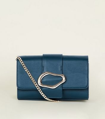 Teal Squiggly Buckle Chain Shoulder Bag