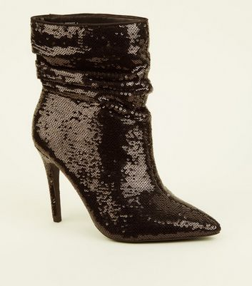 Wide Fit Black Sequin Stiletto Slouch Boots