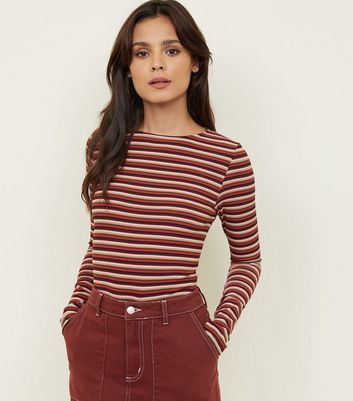 Multi Coloured Stripe Ribbed Long Sleeve Top