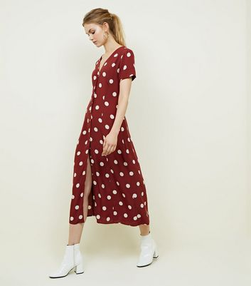 Rust Spot Print Midi Tea Dress