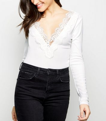 Cream Ribbed Lace Trim Long Sleeve Bodysuit