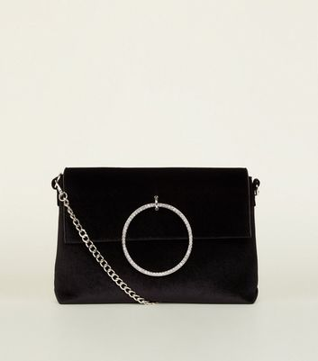 Black Velvet Diamanté Ring Shoulder Bag