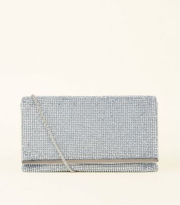 Silver Diamanté Fold Over Clutch Bag