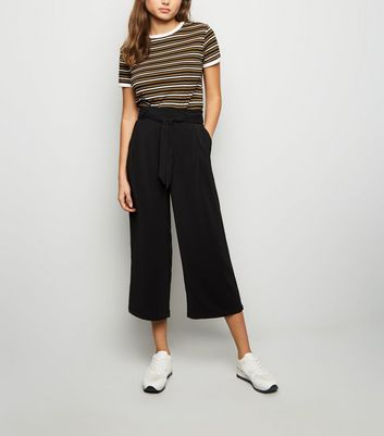 Black Tie Waist Crop Trousers